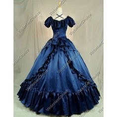 Victorian Dress Southern Belle Prom Ball Gown Theater Clothing (200 CAD) ❤ liked on Polyvore featuring dresses Ball Gown Dresses, Blue Ball Gowns, Dress Hats, 15 Dresses, Quince Dresses, Masquerade Ball Gowns, Elegant Ball Gowns, Holiday Party Dresses, Prom Party Dresses