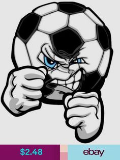 Royalty-free vector clipart illustration of a logo of a mad blue eyed soccer ball with fists. This soccer stock logo image was designed and digitally rendered by Chromaco. Tattoo Futbol, Sports Emojis, Soccer Drawing, Soccer Images, Ball Drawing, France Flag, Car Bumper Stickers, Hand Sketch, Lol Dolls