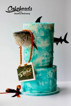 Shark BUSTING Through the Cake! (And an Easy Water Effect Finish is part of Shark Busting Through The Cake And An Easy Water Effect Finish - How to make a shark busting through a cake! Shark cake tutorial on Cakeheads com! Crazy Cakes, Fancy Cakes, Cute Cakes, Pink Cakes, Ocean Cakes, Beach Cakes, Shark Birthday Cakes, 8th Birthday, Shark Cake