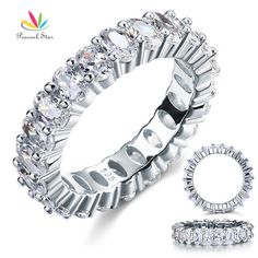 Peacock Star Oval Cut Eternity Solid Sterling 925 Silver Wedding Ring Band Jewelry Created Diamond CFR8069