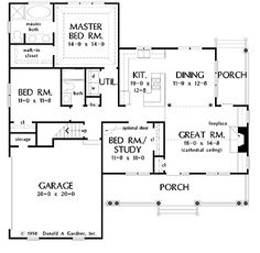 Floor Plans AFLFPW05020 - 1 Story Country Home with 3 Bedrooms, 2 Bathrooms and 1,428 total Square Feet