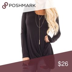 Black Twist Knot Tunic Top S M L Black side twist knot tunic top, 95% Rayon 5% Spandex. Available in size Small, Medium, or Large. No Trades, Price Firm unless Bundled.  BUNDLE 3 OR MORE ITEMS FOR 15 % OFF. Boutique Tops Tunics