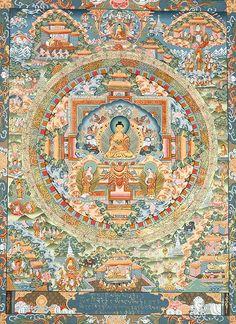 A Detailed Mandala of Gautam Buddha and Episodes from His life, Thangka Tibetan Thangka Painting Gautama Buddha, Buddha Buddhism, Tibetan Buddhism, Lotus Buddha, Art Buddha, Tibetan Mandala, Tibetan Art, Vajrayana Buddhism, Buddhist Symbols