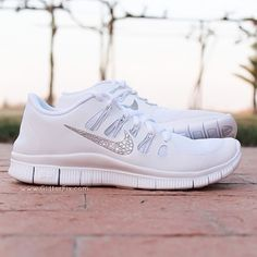 "Gorgeous!  Brand new customized pair of Nike Free 5.0 with Swarovski Rhinestones.  SHIPS IN 2-3 WEEKS*PLEASE NOTE, YOU MAY WANT TO ORDER A HALF SIZE LARGER THAN NORMAL AS NIKE 5.0 TEND TO RUN SMALL*- This item is made to order.  - SHIPS IN 2-3 WEEKS.  - Crystals on outside Nike swoosh only**Due to the fact every crystal is hand placed, no two shoes will be exactly alike***INTERNATIONAL ORDERS:  Please refer to our ""International Orders"" tab at the top of ..."