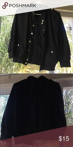 H&M Bomber Black light weight bomber. With neckline strap for that edgy look. H&M Jackets & Coats