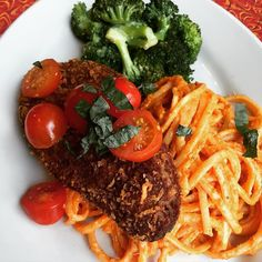"New Seitan Cutlet Special starts tonight: House-made seitan cutlet breaded & fried and served over linguine with a ""Vodka Sauce"" (made w/white wine sundried tomatoes garlic etc.) and sautéed broccoli. #Vegan #colorful #delicious. Available on our Dinner menu starting at 5 p.m. Starts on a Wed. & runs for a week. by veggiegalaxy February 10 2016 at 10:58AM"