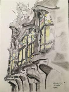 Casa Batllo / Charcoal drawing 297x210