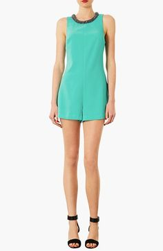 Spotted On Sale! Topshop Embellished Neck Romper #fashion