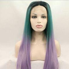 "Halloween Balayage Dip Dye 8A High Heat Synthetic Wig 1b Off Black into Multi Green Purple Ombre 18"" - 28"""