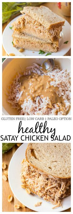 Healthy Satay Chicken Salad- Spruce up your sandwiches, wraps or bowls with this delicious healthy satay chicken salad! Chock full of flavour, this healthy salad combines peanut butter, sweet chilli sauce and liquid aminos to give your standard chicken salad a run for it's money- Gluten Free, low carb and a paleo option! @thebigmansworld -thebigmansworld.com