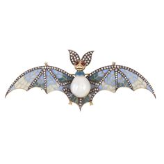 Plique-á-Jour Natural Pearl Bat Brooch | From a unique collection of vintage brooches at https://www.1stdibs.com/jewelry/brooches/brooches/