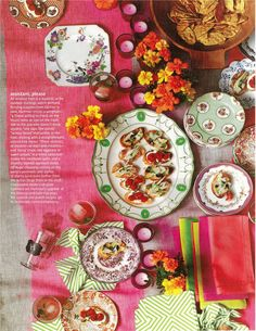 bright table decor with mis-matched plates