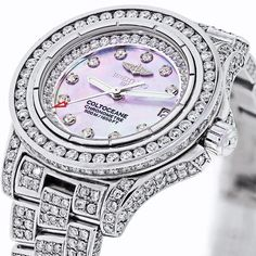Womens Breitling A77380 Custom 12ct Diamond Watch Mother of Pearl Dial  $8200.00