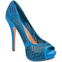 opened toe blue woman shoe with many small holes