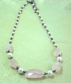 pearl necklace with raw pink quartz accents