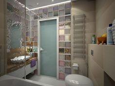 fürdőszoba modern üvegtégla 3D terv vízsprint