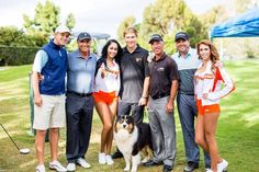 Pro golfers Tyler Sluman and Corey Pavin strike a pose with West Coast Hooters at the @face4pets Tournament!