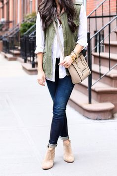 layering - i really like the open white blouse with army green vest