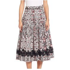 Tomas Maier Sevilla Printed Circle Skirt ($330) ❤ liked on Polyvore featuring skirts, midi, tie-dye skirt, skater skirt, wrap skirt, mid calf skirts and floral skater skirt