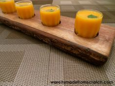 Butternut squash soup served in shot glasses