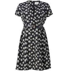 Elspeth Floral Tea Dress | Vintage-inspired Black Dress (€39) ❤ liked on Polyvore featuring dresses, floral, vintage looking dresses, day to night dresses, flower design dresses, flower print dresses and vintage style dresses