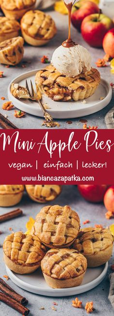 These crispy Mini Apple Pies with simple homemade apple pie cinnamon filling are easy to make as muffins or tarts - perfect vegan party food dessert recipe! Desserts Végétaliens, Vegan Dessert Recipes, Holiday Desserts, Snack Recipes, Dessert Food, Mini Apple Pies, Homemade Apple Pies, Mini Pies, Vegan Apple Muffins