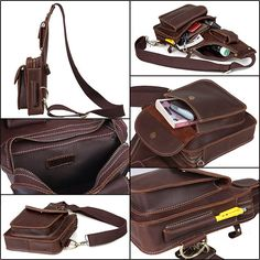 34ab0ba129a1 Mens boys genuine leather sling bag chest bag backpack by 4inlove