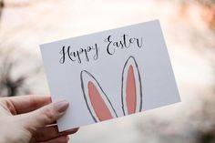 Printable easter card happy easter greeting card easter cards easter bunny card easter printables rabbit ears bunny ears digital 35 diy easter cards that highlights your sentiments in a warm creative tone Diy Easter Cards, Easter Greeting Cards, Easter Crafts For Kids, Happy Easter Cards, Happy Easter Greetings, Easter Quotes, Penny Lane, Easter Printables, Easter Activities