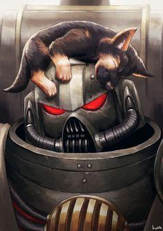 """High Chaplain Grimaldus with a puppy on his head"" / Chaplain :: Black Templars (Чёрные Храмовники) :: Space Marine (Adeptus Astartes) :: Imperium (Империум) :: Wh Other :: Lutherniel (BolterToKokoro) :: Warhammer 40000 warha Warhammer 40k Memes, Warhammer Art, Warhammer Fantasy, Warhammer 40000, Space Wolves, Starcraft, Space Marine, Character Art, Fantasy Art"