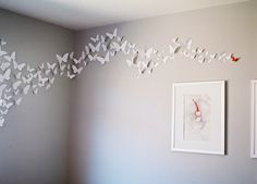 For the girl beautiful I might do this for my room Pink Bedroom For Girls, Pink And Gray Nursery, Big Girl Bedrooms, Pink Room, Little Girl Rooms, Butterfly Room, Butterfly Baby, White Butterfly, Paper Butterflies