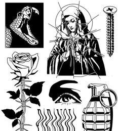 Tattoo Flash Sheet, Tattoo Flash Art, Future Tattoos, Tattoos For Guys, Border Tattoo, Handpoked Tattoo, Line Art Tattoos, Esoteric Art, Dark Tattoo