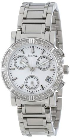 Bulova Women's 96R19 Diamond Chronograph Watch >> $250.50 << Japanese quartz movement; sporty, classy, elegant ... breath-taking! | http://watchesinthemovies.com -- Your #1 Source for Watches and Accessories