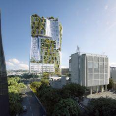 Green Architecture, Architecture Design, Architecture Interiors, Green Tower, Residential Building Design, Modern Buildings, Texture Design, Green Building, Henning Larsen