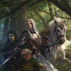 The Art Showcase: Aragorn, Glorfindel, Frodo, and Samwise
