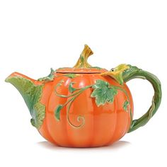 Raised Porcelain Pumpkin Tea Pot - Sorelle Sorelle Z Tea Cup Saucer, Tea Cups, Pumpkin Tea, Pumpkin Spice, Teapots Unique, Cafetiere, Teapots And Cups, My Cup Of Tea, Chocolate Pots