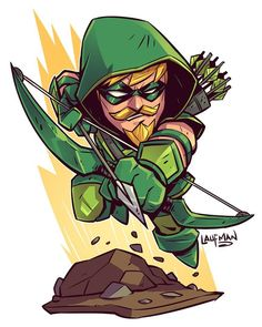 Chibi Green Arrow by Derek Laufman Chibi Marvel, Marvel Dc Comics, Flash Comics, Chibi Superhero, Character Drawing, Comic Character, Comic Books Art, Comic Art, Dc Characters