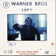 Warner Brothers publicity still slide from The Shining taken by Murray Close. Only a handful of still frames were released to help promote the film, and all of those stills were personally approved by Stanley Kubrick. Jack Nicholson The Shining, Stanley Kubrick The Shining, Days Until Halloween, 1980s Films, Still Frame, Warner Brothers, Life Is A Journey, Film Director, Screenwriting
