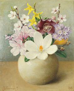 Jan Voerman jr (1890-1976) - Spring flowers, oil on canvas, 24 x 20 cm. 1966.