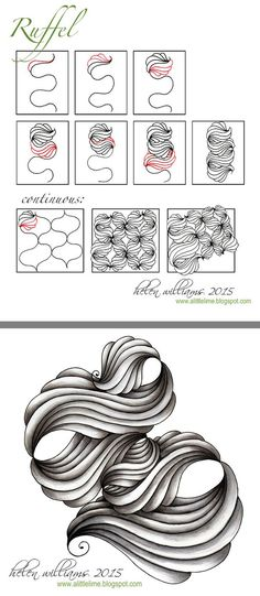 Ruffle by Helen Williams Zentangle Drawings, Doodles Zentangles, Doodle Drawings, Tangle Doodle, Zen Doodle, Doodle Art, Zantangle Art, Zen Art, Doodle Inspiration