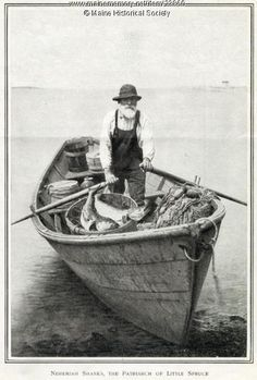 """Nehemiah Shanks, Little Spruce Island, ca. 1909. The image is from an article in Harper's Weekly entitled, """"The Queer Folk of the Maine Coast,"""" written by Holman Day. Item # 23860 on Maine Memory Network"""