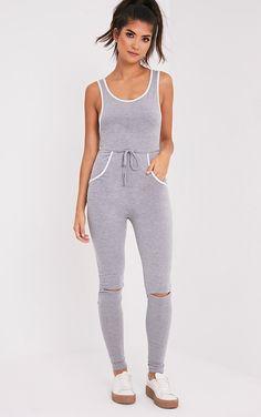 Taran Grey Slit Knee Runner Style Jumpsuit - Jumpsuits & Playsuits - PrettylittleThing | PrettyLittleThing.com