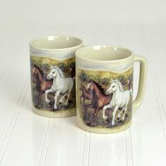 #Vintage #Retro Wild #Horses #Painted #Coffee #Mugs by #Otagiri #Japan  by OneRustyNail on #Etsy