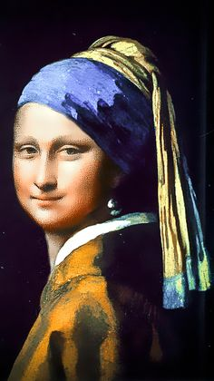 Girl With Pearl Earring, Mona Friends, La Madone, Mona Lisa Parody, Mona Lisa Smile, Famous Artwork, Classical Art, Many Faces, Funny Art