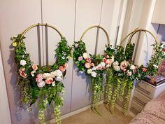 Hoop with fake flowers. DIY Wedding decoration.