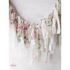 Pink Shabby Chic Roses Fabric Garland. Romantic Shabby Wall Decor. ($35) ❤ liked on Polyvore featuring pink