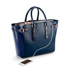 Aspinal Large Marylebone Tech Tote In Navy Pebble & Midnight Blue Lizard