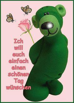 euch allen einen schönen guten morgen Tatty Teddy, Big Love, E Cards, Good Morning, Dinosaur Stuffed Animal, Humor, Motivation, Feelings, Sayings