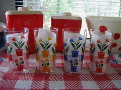 Vintage Art Deco Flowerpot Glasses