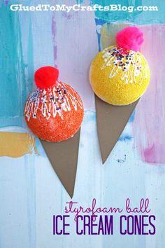 Styrofoam Ball Ice Cream Cones - Kid Craft Idea - Perfect for Summer!