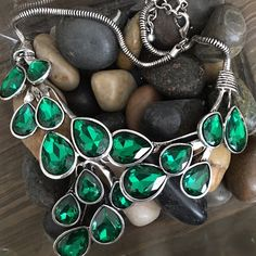 "Emerald Green Tear Drop Necklace Emerald Green necklace with silver plated base metals. 18"" long including extender. Only 1 Available T&J Designs Jewelry Necklaces"